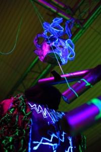 Howl's Moving Castle; UV installation art; Studio Ghibli; 18th century frock coat; ultra violet light;