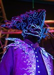 Howl's Moving Castle; UV installation art; Studio Ghibli; 18th century frock coat; tricorn; ultra violet light;
