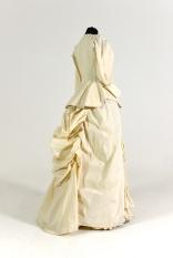 19th century costume callico; bustle; bodice; petticoat; frills;