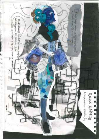 Howl's Moving Castle; Studio Ghibli; 18th century frock coat; collage; experimental drawing; mark making;