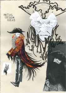 Howl's Moving Castle; Studio Ghibli; 18th century frock coat; tricorn; collage; experimental drawing; mark making;