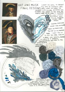Howl's Moving Castle; Studio Ghibli; tricorn; 18th century frock coat; collage; experimental drawing; mark making; mask making