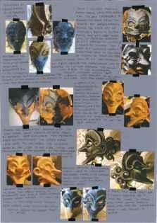 Howl's Moving Castle; Studio Ghibli; collage; experimental drawing; mark making; mask making; warbler; papier mache