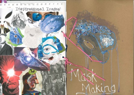 Howl's Moving Castle; Studio Ghibli; collage; experimental drawing; mark making; mask making;
