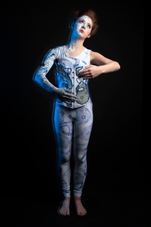 steam punk; body tattoos; body art; body suit; stretch fabric; printing on fabric; body painting;