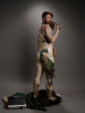 body suit; stretch fabric; printing on fabric; body painting; plumage; peacock; pipe; beard