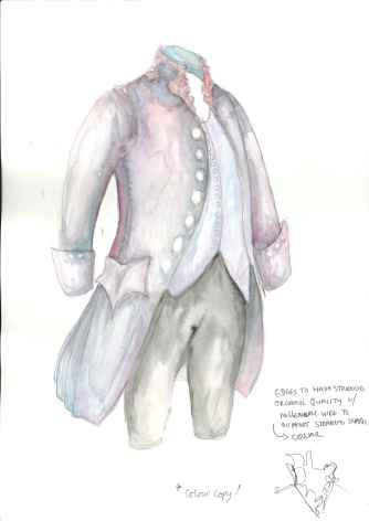 Howl's Moving Castle; Studio Ghibli; 18th century frock coat; pen and wash; mark making;